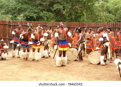 MANZINI, SWAZILAND - NOVEMBER 25 : unidentified young men wear traditional clothing and dance, during presentation of a Swazi show on November 25, 2010 Manzini, Swaziland