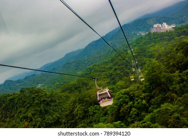 Maokong, Taipei / Taiwan - May 6th, 2017: Gondola ride up to Maokong