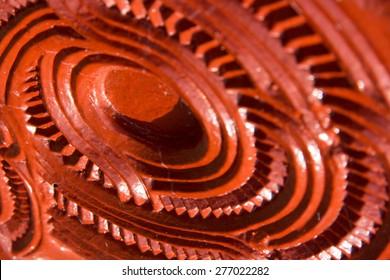 Maori carving - element. Soft selective focus