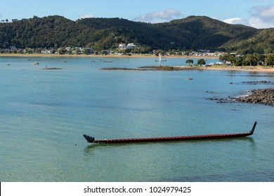 Maori Waka (Canoe) In Paihia On Treaty Of Waitangi Day, No People