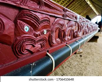 Maori Waka Taua carvings, Waitangi, New Zealand