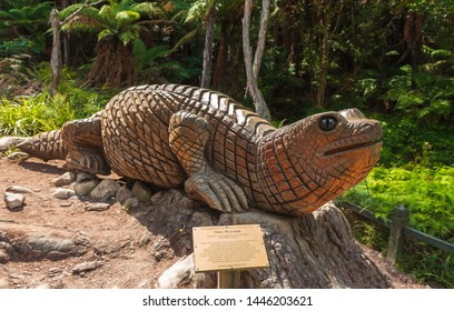 Maori wooden carving in forest - 9.07.2019 Wai o Tapu New Zealand
