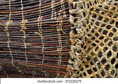 Maori wooden fishing net details.Traditional Maori culture artwork New Zealand.Background texture