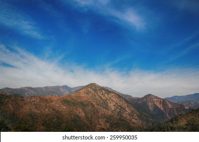 Maountains view on blue sky background in Nepal