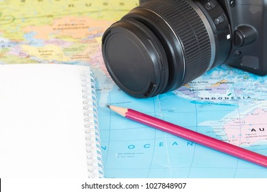 a map and accessories with travel plan for relax