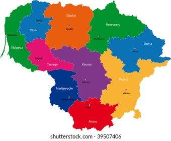 Map of administrative divisions of Republic of Lithuania