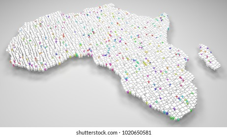 Map of Africa   3d Rendering, mosaic of little bricks - White and Harlequin colors