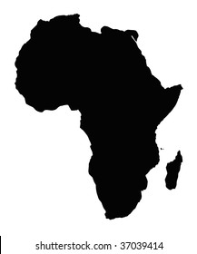 Map of African continent, isolated on white background.