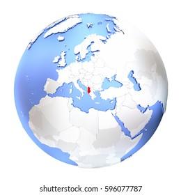 Map of Albania on metallic globe. 3D illustration isolated on white background.
