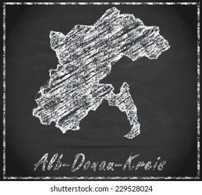 Map of Alb-Donau-Kreis as chalkboard  in Black and White
