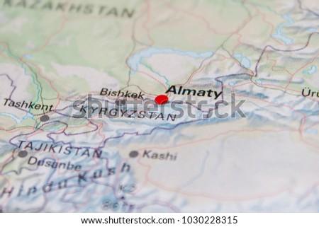 Map Almaty Kazakhstan 2017 Stock Photo Edit Now 1030228315