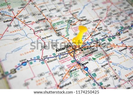 Map Of Texas Amarillo.Map Amarillo Texas Marked Push Pin Stock Photo Edit Now 1174250425