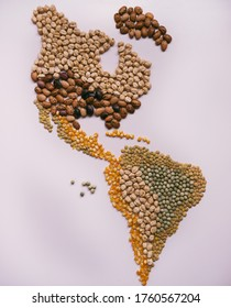 Map of America made with seeds and dry grains that represents the food sovereignty of the countries in this health emergency, giving importance to our farmers and peasants, breaking borders