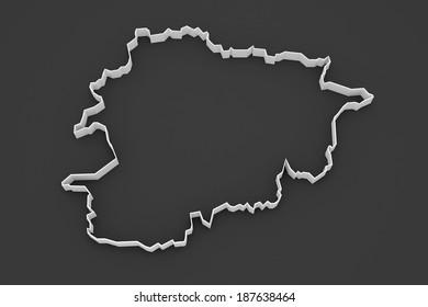 Map of Andorra. 3d