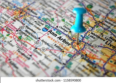 A map of Ann Arbor, Michigan marked with a push pin.