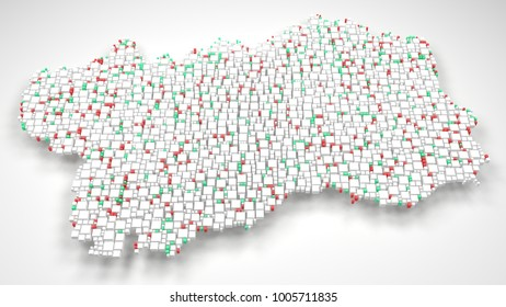 Map of Aosta Valley - Italy   3d Rendering, mosaic of little bricks - White and Flag colors