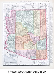 A map of Arizona, USA from Spofford's Atlas of the World, printed in the United States in 1900, created by Rand McNally & Co.
