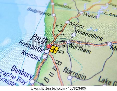 Map Australia Perth.Map Australia Focus On Perth Stock Photo Edit Now 407823409