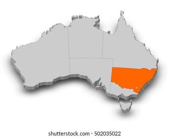 Map - Australia, New South Wales - 3D-Illustration