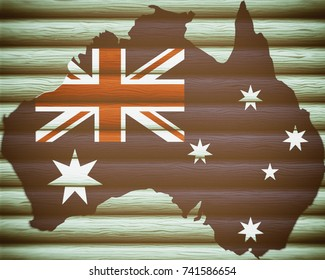 Map of Australia on a wooden background, Flag of Australia, texture, blurred image, dirty, illustration