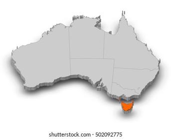Map - Australia, Tasmania - 3D-Illustration