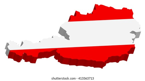 A map of Austria 3D with flag on white baclground
