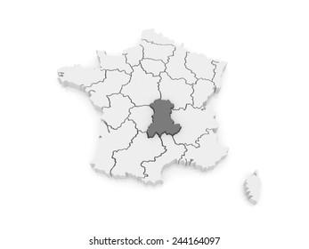 Map of Auvergne. France. 3d