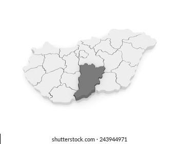 Map of Bacs-Kiskun. Hungary. 3d