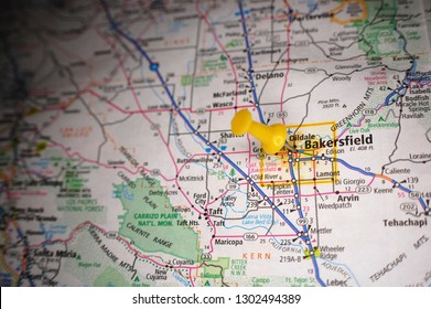 A map of Bakersfield, California marked with a push pin.