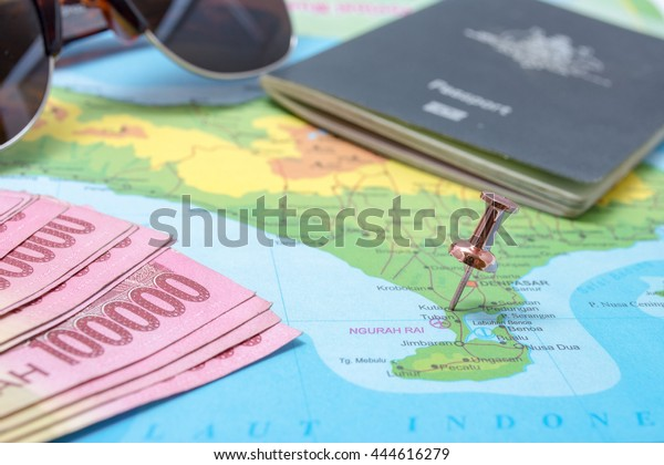 Map Bali Pin Pinned Kuta Area Stock Photo Edit Now 444616279