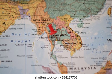 The map is Bangkok , Thailand with red pin