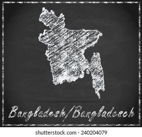Map of Bangladesh as chalkboard