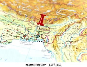 Bangladesh map images stock photos vectors shutterstock map of bangladesh with pin set on dhaka gumiabroncs Image collections