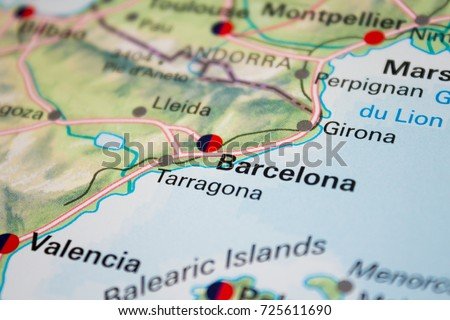 Map Of Tour Of Spain 2017.Map Barcelona Spain 2017 Stock Photo Edit Now 725611690 Shutterstock