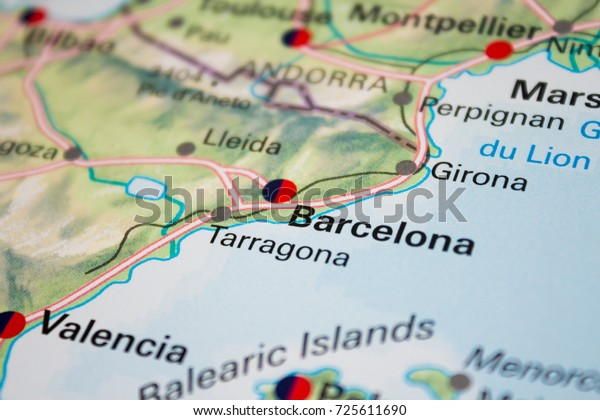 Map Of Tour Of Spain 2017.Map Barcelona Spain 2017 Stock Photo Edit Now 725611690