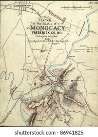 Map of the Battle of the Monocacy, 1864, Maryland,  from Report of  the 2nd Corps, Army of Northern Virginia, published 1864.