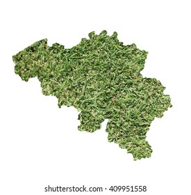 Map of Belgium filled with green grass, environmental and ecological concept.