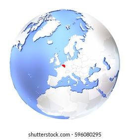 Map of Belgium on metallic globe. 3D illustration isolated on white background.