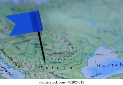 Map with blue flag in Balkan