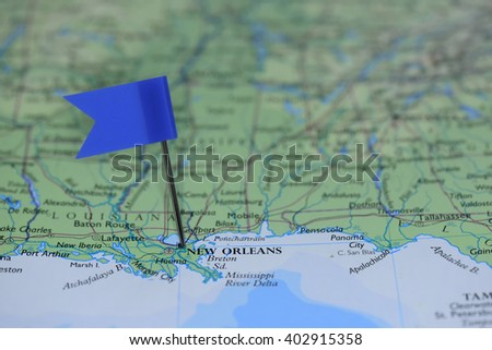 Map Blue Flag New Orleans Usa Stock Photo Edit Now 402915358