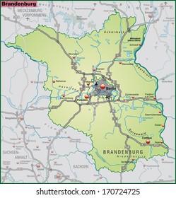 Map Brandenburg Highways Pastel Orange Stock Illustration 170715659
