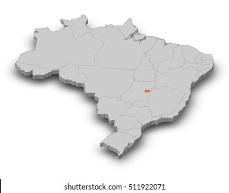 map brazil brazilian federal district 3d illustration