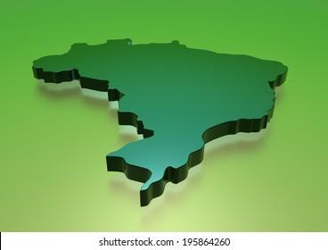 Map of Brazil- Green. 3d render illustration.