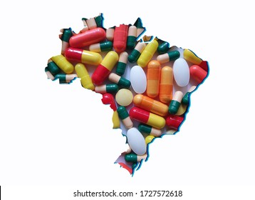 map of Brazil with medicine pills and white background