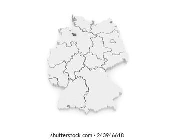 Map of Bremen. Germany. 3d