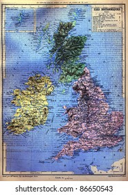 The map of the British Isles with signs and their explanation from the late 1800s,  Trousset encyclopedia (1886 - 1891).