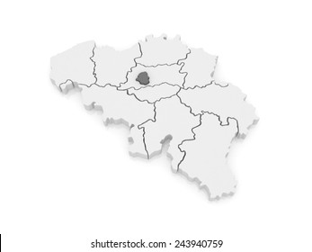 Map of Brussels. Belgium. 3d