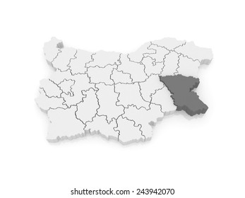 Map of Burgas Province. Bulgaria. 3d