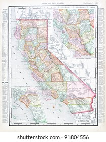 A map of California, USA from Spofford's Atlas of the World, printed in the United States in 1900, created by Rand McNally & Co.