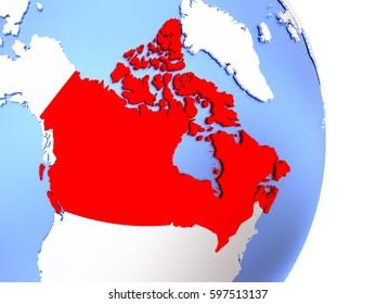 Map of Canada on an elegant polished globe. 3D illustration